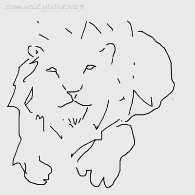 Animals Drawings - Lion Sketch by Samuel Zylstra