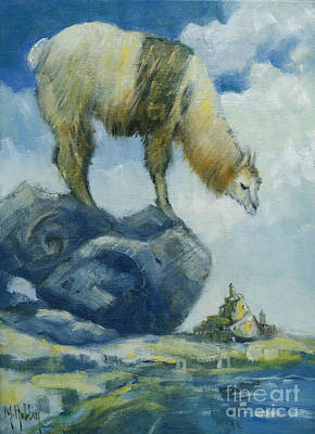 Painting - Llama And The Castle by Mary Hubley
