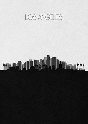 Skyline Drawing - Los Angeles Cityscape Art V2 by Inspirowl Design