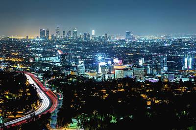 Photograph - Los Angeles Night Cityscape by Deimagine