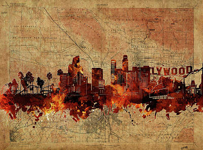 Skylines Royalty-Free and Rights-Managed Images - Los Angeles Skyline Vintage by Bekim Art