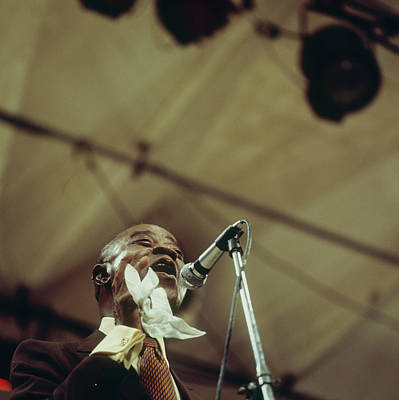Louis Armstrong On Stage At Newport Art Print by David Redfern