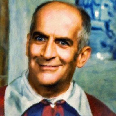 Painting - Louis De Funes, Portrait by Vincent Monozlay
