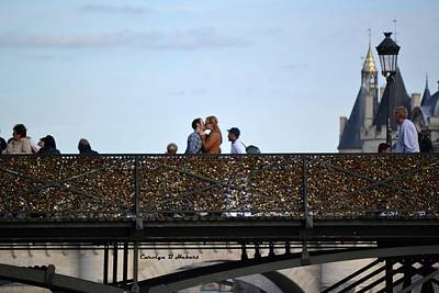 Wall Art - Photograph - Lovers On Love Lock Bridge by Carolyn Hebert