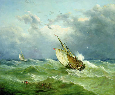 Moore Wall Art - Painting - Lowestoft Trawler In Rough Weather by John Moore