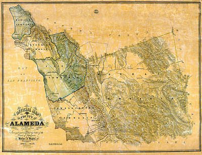 Photograph - Map Of Alameda 1857 by Andrew Fare