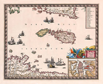 Photograph - Map Of Malta 1680 by Andrew Fare