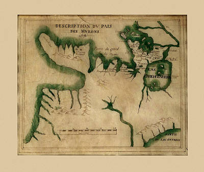 Photograph - Map Of The Great Lakes 1631 by Andrew Fare