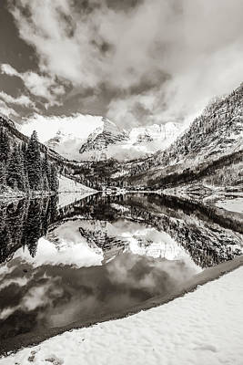 Photograph - Maroon Bells Colorado Winter Landscape In Sepia by Gregory Ballos