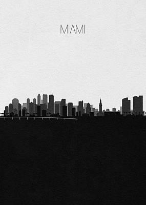 Skyline Drawing - Miami Cityscape Art V2 by Inspirowl Design