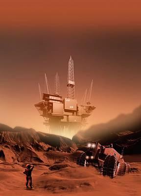 Digital Art - Mining On Mars, Artwork by Victor Habbick Visions