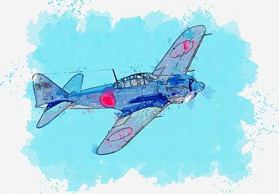 Royalty-Free and Rights-Managed Images - Mitsbishi A6M Bank watercolor by Ahmet Asar by Ahmet Asar