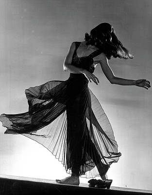 Photograph - Model Florence Dornin Twirling Around In by Gjon Mili