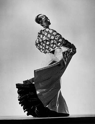 Photograph - Model Wearing Checkered Evening Dress W by Gjon Mili