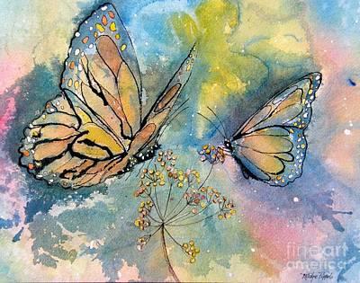 Wall Art - Painting - Monarch Butterflies by Midge Pippel