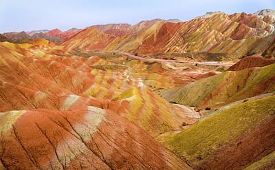 Photograph - Monoclinic Limestones Rainbow Mountains Zhangye Gansu China by Adam Rainoff