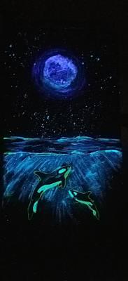 Moon Lit Orcas Art Print