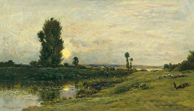 Painting - Moonrise On The Banks Of The River Oise - Daubigny, Charles-francois by Celestial Images