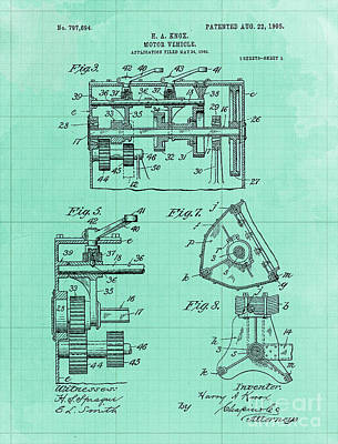 Royalty-Free and Rights-Managed Images - Motor Vehicle Patent Colored Vintage Art Print Year 1905 Blueprint by Drawspots Illustrations