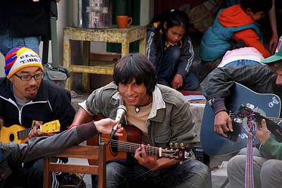 Musicians Royalty Free Images - Musicians at International Peace Exhibit in McLeod Ganj Royalty-Free Image by Carol Ailles
