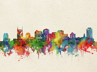 Abstract Skyline Royalty-Free and Rights-Managed Images - Nashville Skyline Watercolor by Bekim M