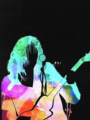 Neil Young Wall Art - Mixed Media - Neil Young Watercolor by Naxart Studio