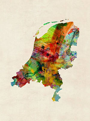 Digital Art - Netherlands Watercolor Map by Michael Tompsett