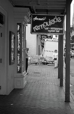 Photograph - New Orleans Restaurant 2004 Bw #2 by Frank Romeo