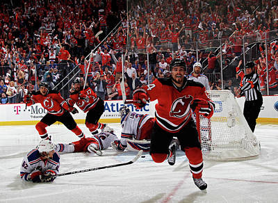 Playoffs Photograph - New York Rangers V New Jersey Devils - by Bruce Bennett