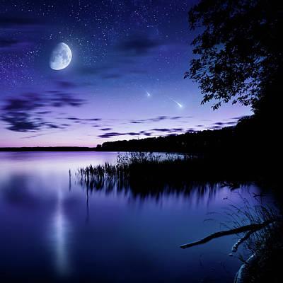 Photograph - Night Shot Of Lake by Da-kuk