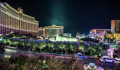 Photograph - Night Time In Las Vegas Nevada Strip by Alex Grichenko
