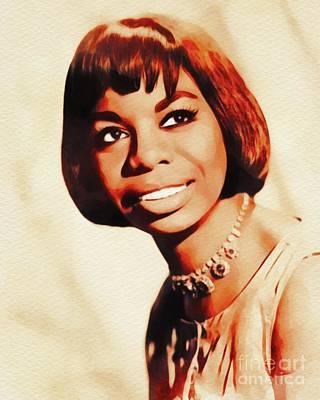 Jazz Royalty Free Images - Nina Simone, Music Legend Royalty-Free Image by John Springfield