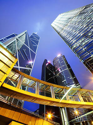 Financial District Photograph - Office Building At Night by Ngkaki