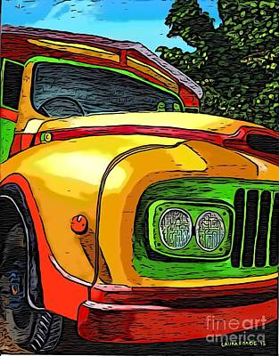 Digital Art - Old Grenadian Bus by Laura Forde