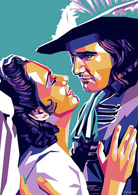 Spanish Adobe Style - Olivia de Havilland and Errol Flynn by Stars on Art