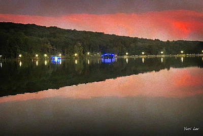 Mixed Media Royalty Free Images - Orange New Jersey Reservoir Royalty-Free Image by Yuri Lev