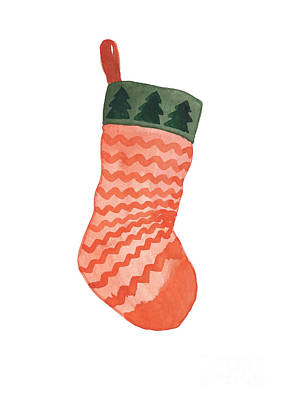 Painting - Orange Striped Christmas Stocking With Evergreen Tree Patterned Top by Joanna Szmerdt
