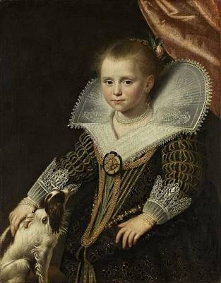 Painting - Paulus Moreelse   Portret Van Een Meisje  Bekend Als  Het Prinsesje 1623  by Celestial Images