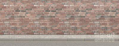 Digital Art - Pavement Street And Wall Backdrop by Allan Swart