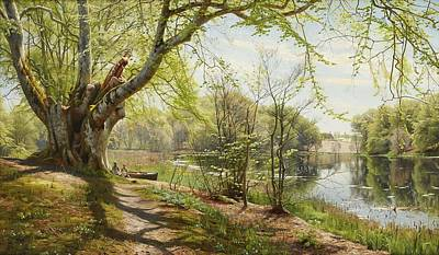 Painting - Peder Monsted Denmark 1859 1941 Greenland Spring Landscape With Seated Children At The Edge Of The B by Celestial Images