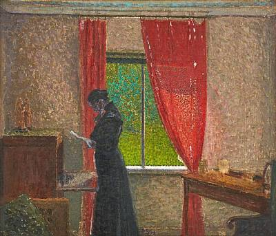 Painting - Pelle Swedlund  1865 1947 Woman With Letter At The Window by Celestial Images