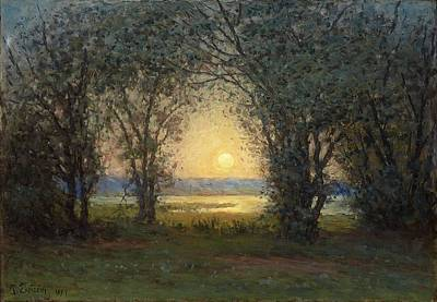 Painting - Per Ekstrom 1844 1935 Lake Landscape With Trees At Sunset by Celestial Images