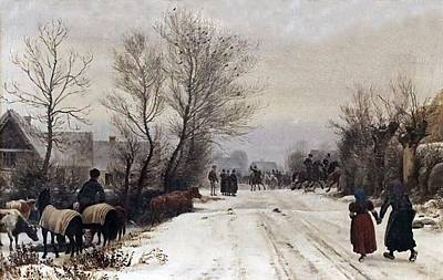 Painting - Peter Christian Skovgaard 1817-1875 Copenhague Winter Landscape A Country Wedding  by Celestial Images