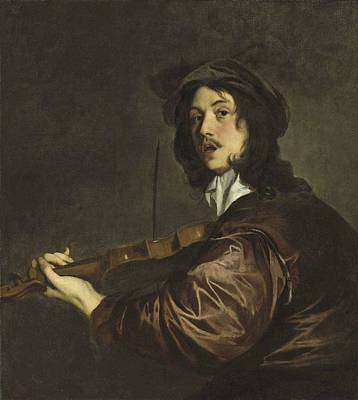 Painting - Peter Lely   A Man  Possibly The Artist  Playing The Violin by Celestial Images