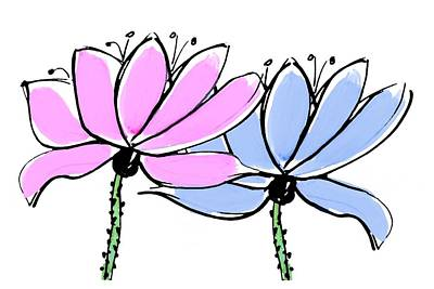 Painting - Pink And Blue Lotus Flowers by Steven Clarke