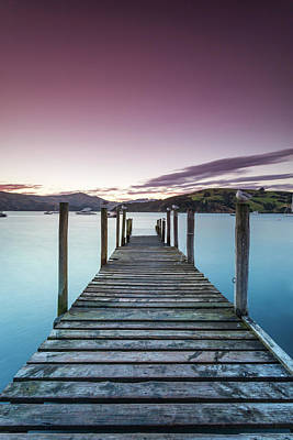 Photograph - Pink Sunset Over Jetty And Blue Lake by Matteo Colombo