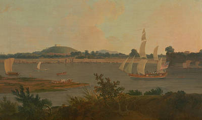Painting - Pinnace Sailing Down The Ganges Past Monghyr Fort by Thomas Daniell