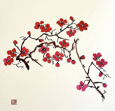 Painting - Plum Blossoms by Margaret Welsh Willowsilk