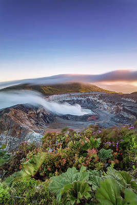 Poas Volcano Crater At Sunset, Costa Art Print by Matteo Colombo