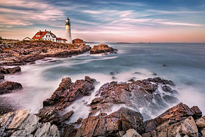 Photograph - Portland Head Light At Dusk, In Maine by Mihai Andritoiu
